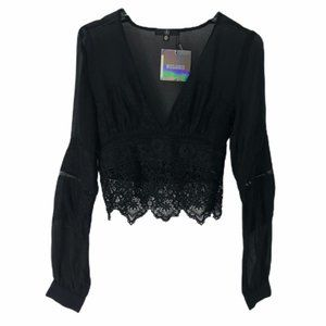 Missguided Cropped Sheer Lace Trim Blouse